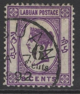 LABUAN SG34 1891 6c on 8c DEEP VIOLET USED