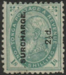 Tonga 1894 SG24b 2½d on 1/- deep green King George I MH
