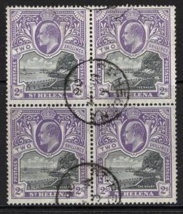 ST.HELENA SG60 1903 2/= BLACK & VIOLET FINE USED BLOCK OF 4