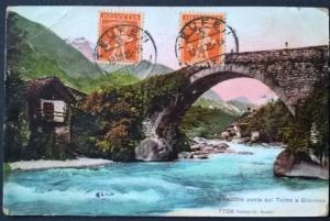 Switzerland 1923 Postcard Bridge Ticino a Giornico TEUFEN to PENANG Straits