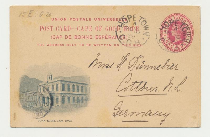 CAPE OF GOOD HOPE TO GERMAN 1899, HOPE TOWN TO COTTBUS  TOWN HOUSE 1d CARD