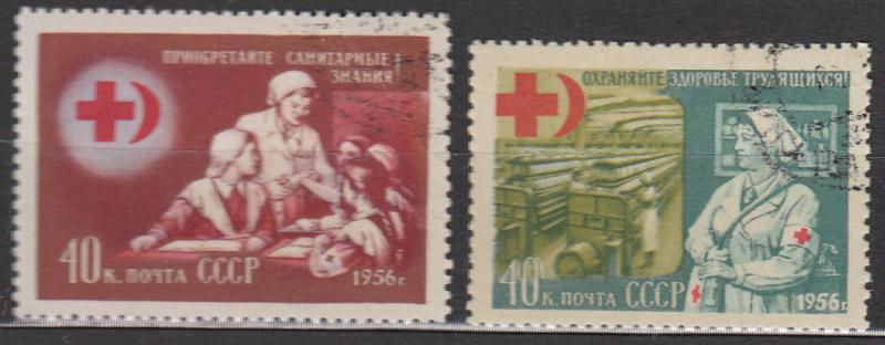 Stamp Russia USSR SC 1823-4 1956 Nurse First Aid Textile Red Cross Used