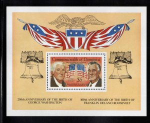 DOMINICA Scott 767 MNH** 1982 Washinton & FDR souvenir sheet