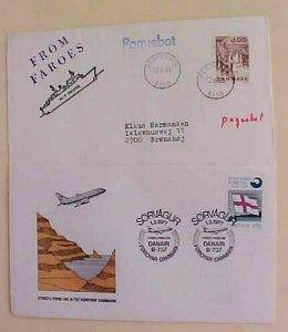 FAROE  USED in DENMARK PAQUEBOT KLEPPESTO 1980 & FLIGHT COVER 1977