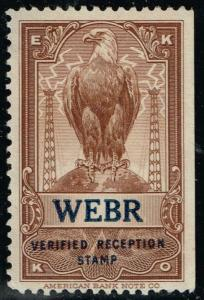 USA  - EKKO -  WEBR - Buffalo, NY - Verified Reception Stamp $19.95