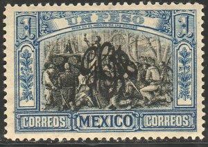 MEXICO 493, $1P CARRANZA MONOGRAM REVOLUT OVPERPRINT UNUSED, H OG. VF.