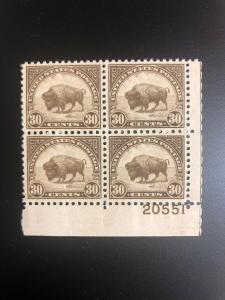 700 .30 Bison Plate Block Superb Mint Never Hinged