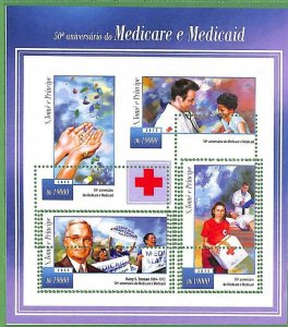 A3517-Sao Tome & Principe ERROR MISSPERF 2015  medicine RED CROSS красный крест