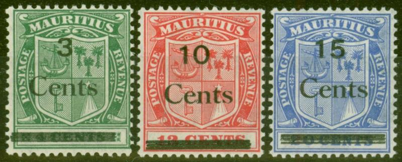 Mauritius 1925 set of 3 SG242-244 V.F Very Lightly Mtd Mint