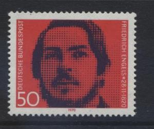 GERMANY. -Scott 1051 -Friedrich Engels - 1970- MNH - Single 50pf Stamp1