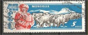 MONGOLIA, 1961, CTO 5m, Rams Scott 243