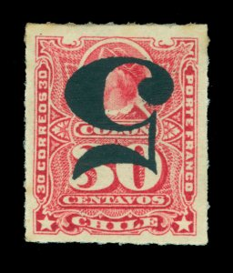 CHILE 1900 COLUMBUS  5c /30c rose - INVERTED SURCHARGE - Scott # 50a mint MH
