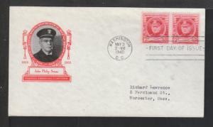 US 880 Sousa 1940 Ioor Typed FDC