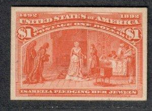 $US Sc#241p4 M/H/VF Columbian Plate Proof on card, Cv. $200