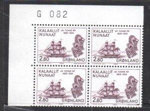 Greenland Sc 156 1985 2.8 kr Trade Ship stamp corner number block of 4 mint NH