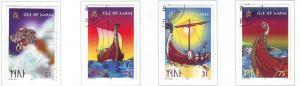 Isle of Man Sc 771-4 1998 Viking Longships stamp set used