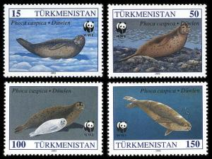 Turkmenistan WWF Caspian Seal 4v SG#32-35 SC#35-38 MI#30=34