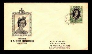 Montserrat 1953 QEII Coronation FDC - L13160