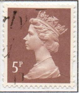 Great Britain Sc MH203 1993 5p rose brown  QE II  Machin Head stamp used