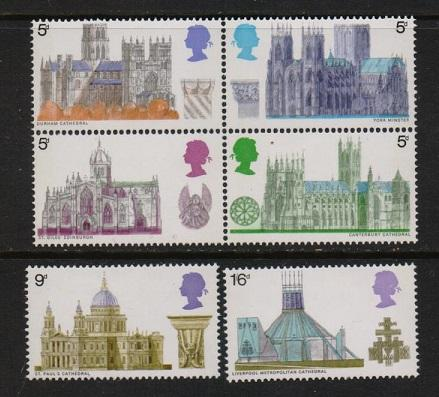 Great Britain 1969 MNH Cathedrals with block of 4