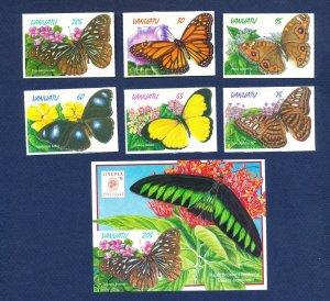 VANUATU - Scott 721-726a - FVF MNH die cut - Butterfly - 1998
