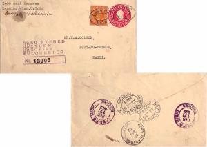 United States Michigan Lansing Registered 1923 violet double ring  10c Monroe...