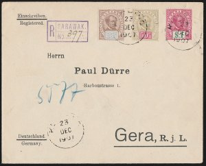 SARAWAK : 1907 Registered cover franked Brooke 25c, 50c & $1. To Germany. RARE!