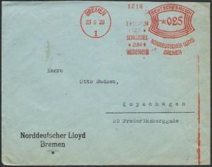 GERMANY 1929 cover red meter BREMEN, Norddeutscher Lloyd...................57071