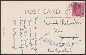 INDIA 1907 Postcard to Australia - BRITISH CAVALRY LINES cds................J681