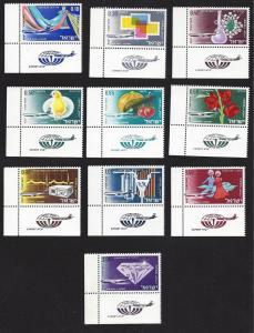 Israel, C38-47, Israeli Exports Airmail Tab Singles,**MNH**