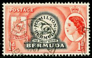 BERMUDA SG136, 1d black & red, CDS, FINE USED.