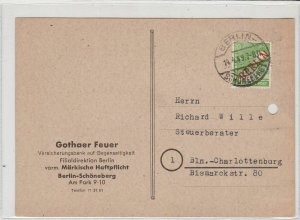 Germany 1949 Berlin Overprint from Insurance Bank Stamps Card Ref 24026
