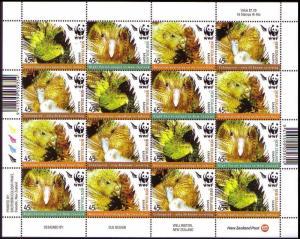 New Zealand Birds WWF Kakapo Sheetlet of 4 sets SG#2811-2814 MI#2276-2279