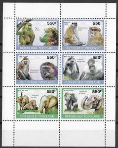 Togo MNH S/S Monkeys & Elephants Wild Animals 2010 6 Stamps
