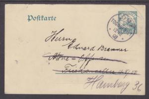 Togo Mi P16 used 1908 5pf Forwarded Postal Card, LOME-HAMBURG