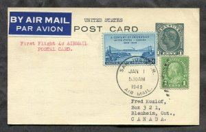 3939 - First Flight 4c PUERTO RICO to CANADA 1949 Dual Franking Postal Card