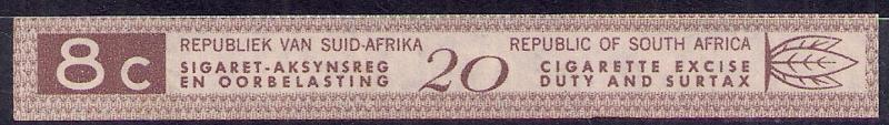South Africa Tobacco 8c Tax Paid Strip 1950s Duty item