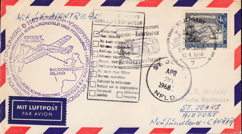 Germany 1968 Pioneer Flight Cover of the Bremen D1167 to St. Johns, NF, Canada