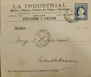 J) 1902 CHILE, PORTE FRANCO THE INDUSTRIAL, POSTAL STATIONARY, CIRCULATED COVER,