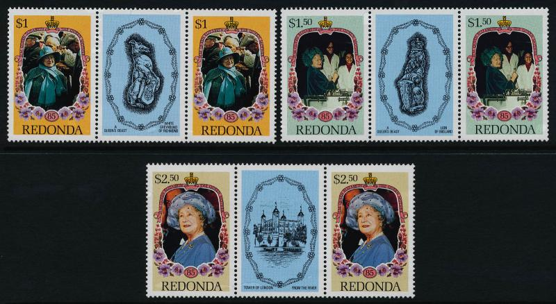 Redonda Gutter Pairs MNH Queen Mother 85th Birthday, Flowers