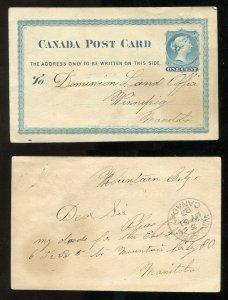 3519 - WINNIPEG 1883 Receiver on Postcard from MOUNTAIN CITY (Selkirk)