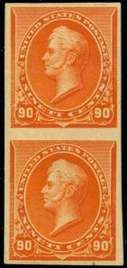 229P1 IMPERF PAIR ON STAMP PAPER - VF OG HR Cat $1,450.