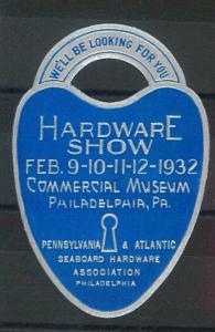 55214 -  VINTAGE  POSTER STAMP Label - USA: HARDWARE EXPO -  PHILADEPHIA  1932