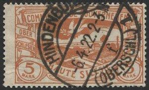 UPPER SILESIA Germany 1920 Sc 31  5mk, Used, F-VF, HINDENBURG postmark