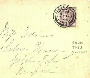 GB WALES Cover *GOLD TOPS* Newport Mon 1898 Superb CLEVEDON CDS Ex Somerset RR50
