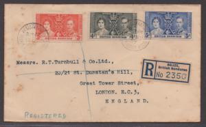 *British Honduras Registered Cover # 112-4 (set), Toned
