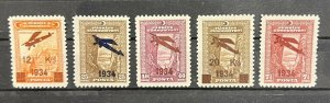 Turkey 1934 Surcharged Airmail Stamps First Issue MH* SET SG #1157/1161