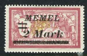 MEMEL; 1922 early surcharged issue Mint hinged 2M. value