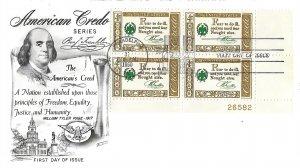 #1140, 4c American Credo, Fleetwood cachet, plate block of 4
