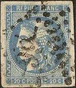 France - #43 -Used- 1870 - Ceres - 20c - SCV-575.00